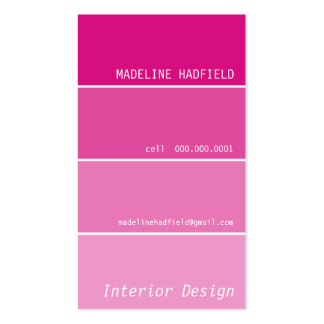 BUSINESS CARD paint chip swatch magenta pink