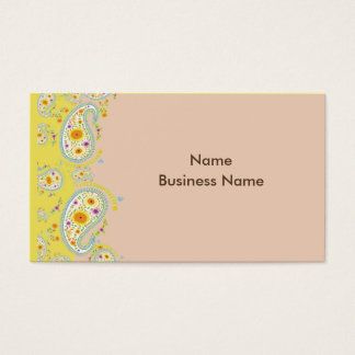 Business Card, paisley pale pink and pale yellow Business Card