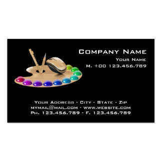 Business Card Palette and wood mouse on black