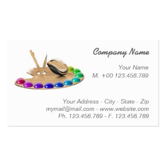 Business Card Palette and wood mouse on white