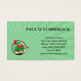 Business card Paul Bunyan Lumberjack Axe Thumbs Up
