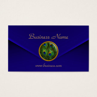 Business Card Peacock Eye Jewel deep Blue Velvet