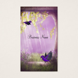 Business Card Pink Purple Fantasy Birds