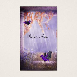 Business Card Pink Purple Fantasy Birds 2a