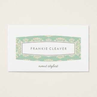 BUSINESS CARD plain patterned panel mint cream