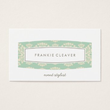 Professional Business BUSINESS CARD plain patterned panel mint cream