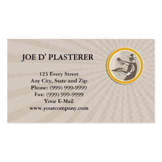 Business card Plasterer Masonry Worker Trowel Retr