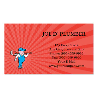 Business card Plumber Holding Big Monkey Wrench Ca