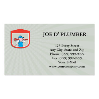 Business card Plumber Holding Big Monkey Wrench Sh