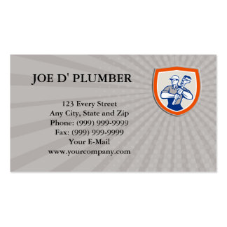 Business card Plumber Holding Giant Monkey Wrench Standard Business Cards