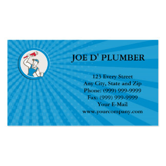 Business card Plumber Holding Monkey Wrench Circle