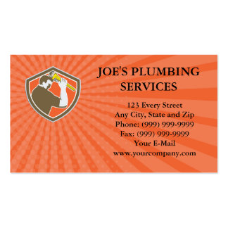 Business card Plumber Holding Monkey Wrench Crest