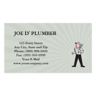 Business card Plumber Holding Monkey Wrench Front