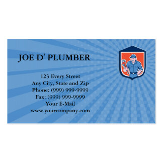 Business card Plumber Holding Monkey Wrench Shield