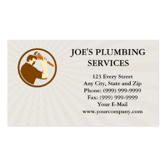 Business card Plumber Holding Monkey Wrench Side C