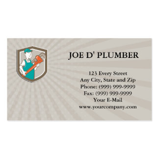 Business card Plumber Monkey Wrench Shield Cartoon