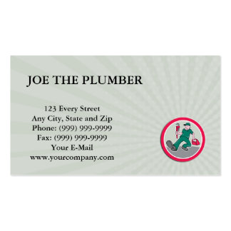 Business card Plumber Monkey Wrench Toolbox Circle