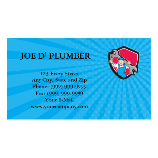 Business card Plumber Thumbs Up Monkey Wrench Cart