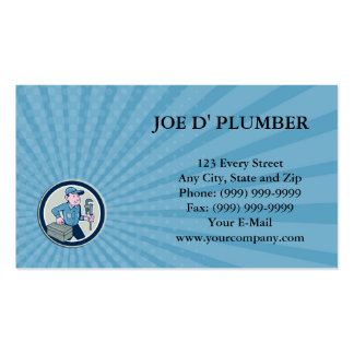 Business card Plumber Toolbox Monkey Wrench Circle