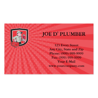 Business card Plumber Toolbox Monkey Wrench Shield