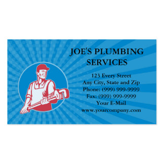 Business card Plumber Worker Monkey Wrench Retro