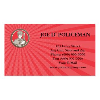 Business card Policeman With Night Stick Baton Cir