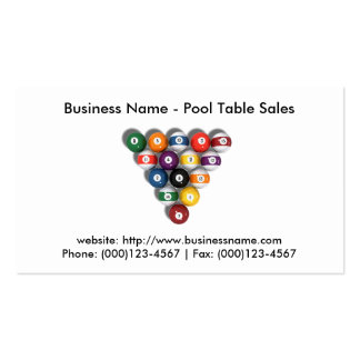Business Card: Pool Table Sales Business Card