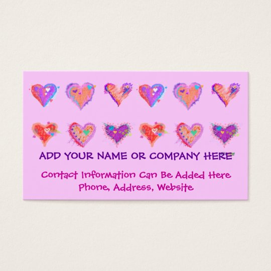 Business Card - Pop Art Crazy Hearts 2
