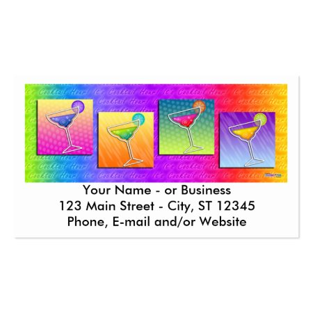60s Style Colorful Retro Cocktail Drinks Pop Art Margaritas Business Cards