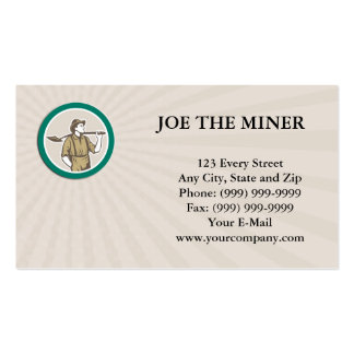 Business card Prospector Miner With Shovel Circle