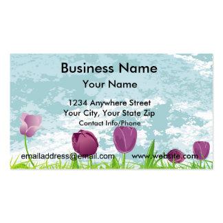 Business Card Purple Tulips