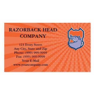 Business card Razorback Head Looking Up Shield Ret