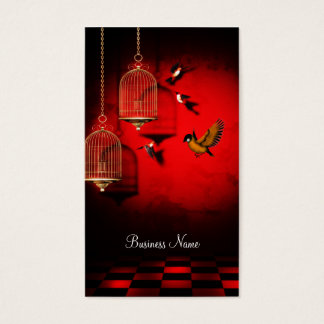 Business Card Red Golden Cage Birds