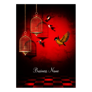 Business Card Red Golden Cage Birds Business Card Templates