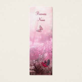 Business Card Red Pink Woodland Bird Skinny