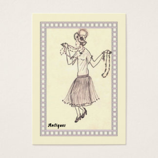 Business Card Retro Flapper Girl 1950's Drawing