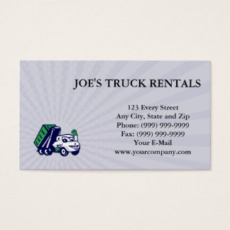 Business card Roll-Off Bin Truck Waving Cartoon