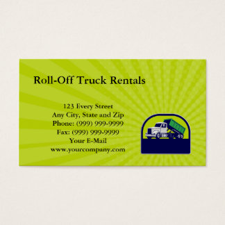 Business card Roll-Off Truck Side Up Half Circle R