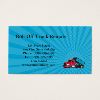 Business card Roll-Off Truck Side Up Retro