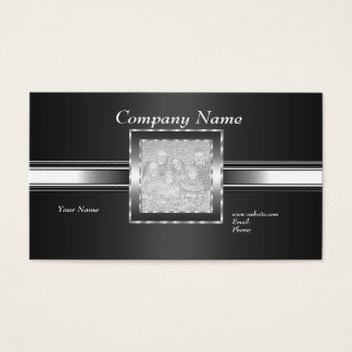 Business Card Silver on Grey Black Add Logo Photo