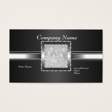 Professional Business Business Card Silver on Grey Black Add Logo Photo