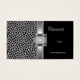 Business Card Silver on Grey Black Diamond Jewel
