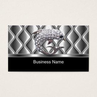 Business Card Silver Tile Trim Diamond Dolphin