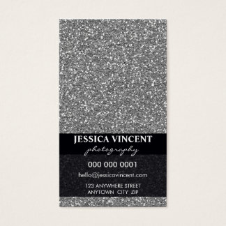 BUSINESS CARD simple glitzy glitter silver