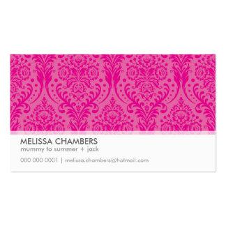 BUSINESS CARD simple modern damask fuschia pink