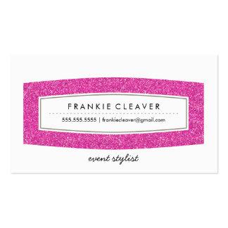 BUSINESS CARD simple modern panel hot pink glitter
