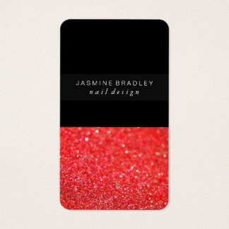 Business Card - Simplistic Glitter Sheer Red