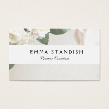 Professional Business Business Card Soft White Rose Template