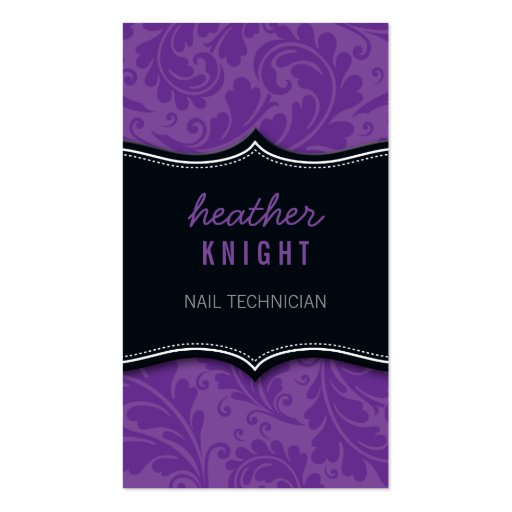 BUSINESS CARD sophisticated flourish black purple