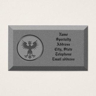 Business card Stone with mythological symbol